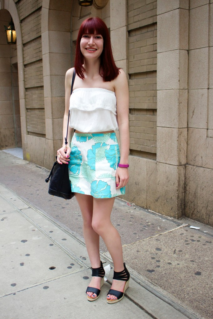 topshop '60s floral skirt, bearpaw calla, forever 21 crop top